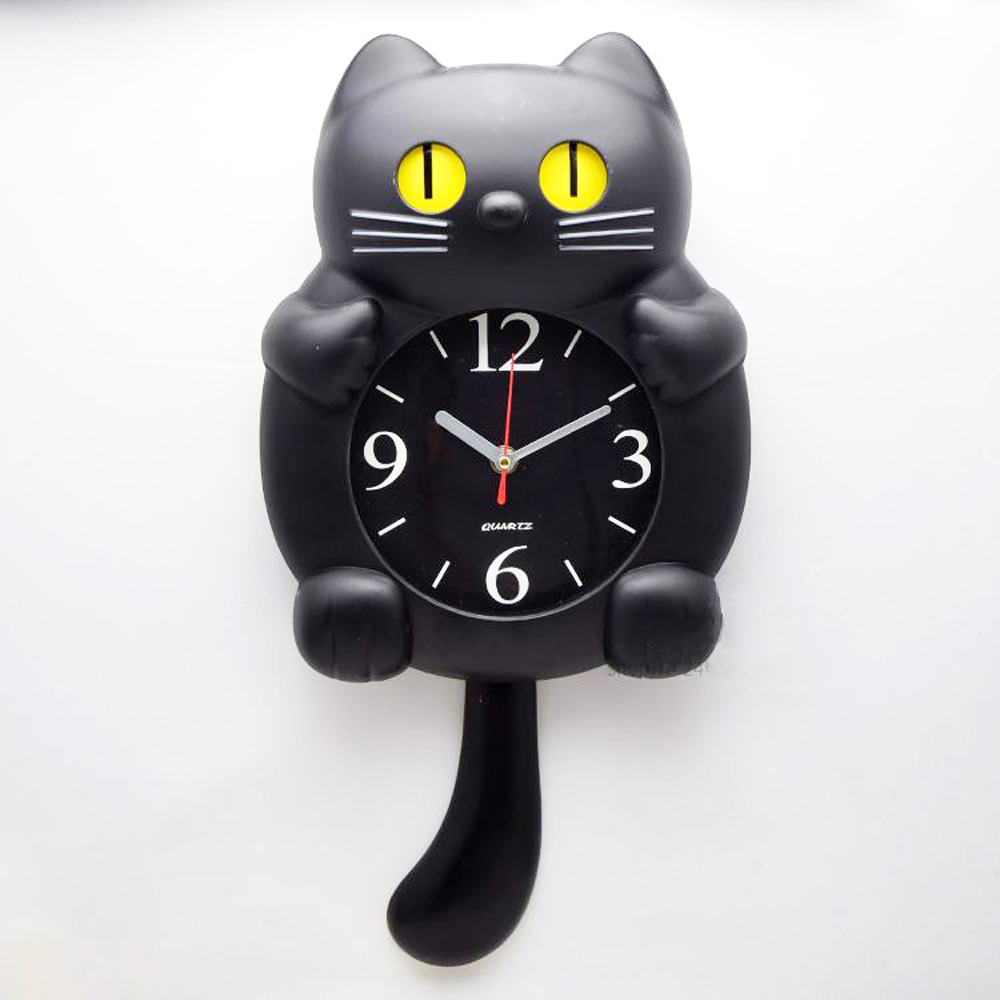 Cut Cat Wall Clock Home Decor Watch Eyes Amp Tail Move For