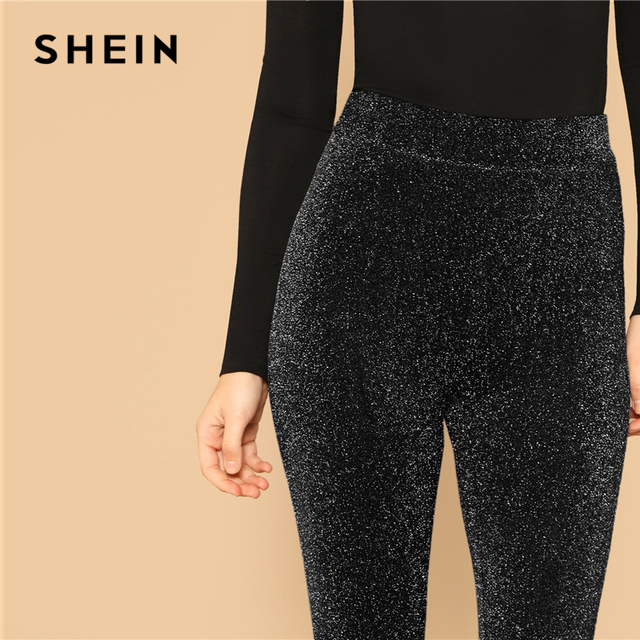 SHEIN Silver Glamorous Elastic Waist Sparkle Maxi Leggings Spring Women Streetwear Casual stretchy Solid Leggings Pants 6