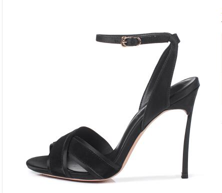 224d46efd Carpaton 2018 Summer New black red beige sheep leather stitching stain  stiletto high heel sandals sexy peep toe simple shoes