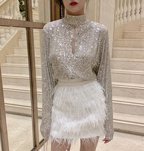 Luxury Women Party Skirt Suits Runway Autumn Silvery Sequined Hollow Out Shirt + Mini White Ostrich Hair Tassel Pencil Skirt Set