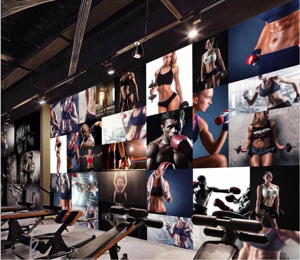 3d wallpaper custom mural photo gym fitness boxing for Custom photo mural wallpaper