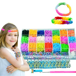 Big size 4600pcs rainbow elastic loom bracelet weaving machine band ribbon knitted crafts for children gift,