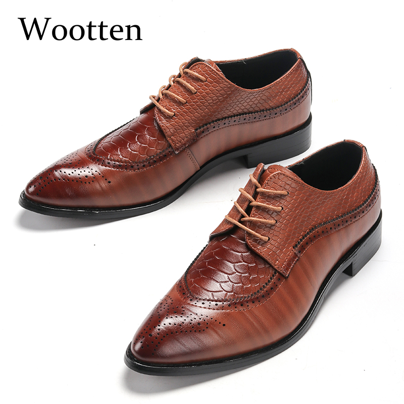 adult men dress shoes plus size crocodile brogues pointed toe office wedding designer elegant classic fashion oxford shoes #6606 image