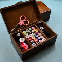 Hot Sale Solid Retro Wood Wooden Sewing Box Sewing Kit Korea Home Textile Thread Polyester Spools