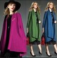 Abrigos Mujer 2016 Зимняя Мода Плюс Размер Твердых Длинная Шерсть Пальто Женщин Высокого Качества Элегантный Кардиган Женский Пальто манто