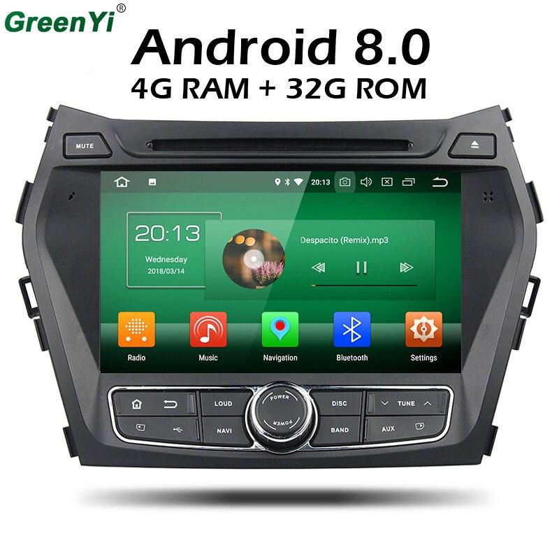 1024*600 4 GB RAM Octa base Android 8.0 Voiture DVD GPS Lecteur pour HYUNDAI IX45 2013 SANTA FE Santafe Navigation Radio Tête Unité