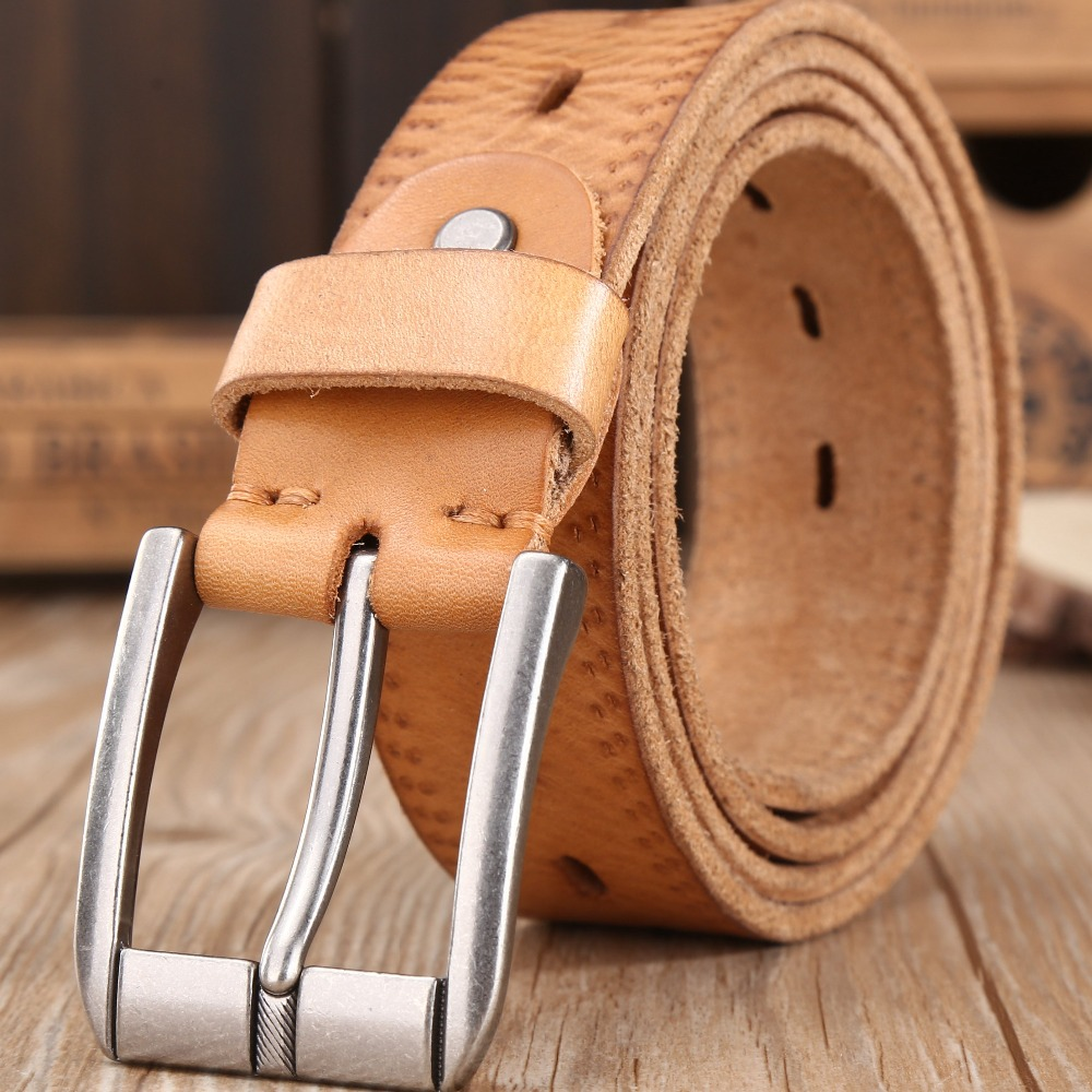 2019 New Casual Mens Belt for Jeans 100/% Genuine Leather Belt Big Size 105-160cm