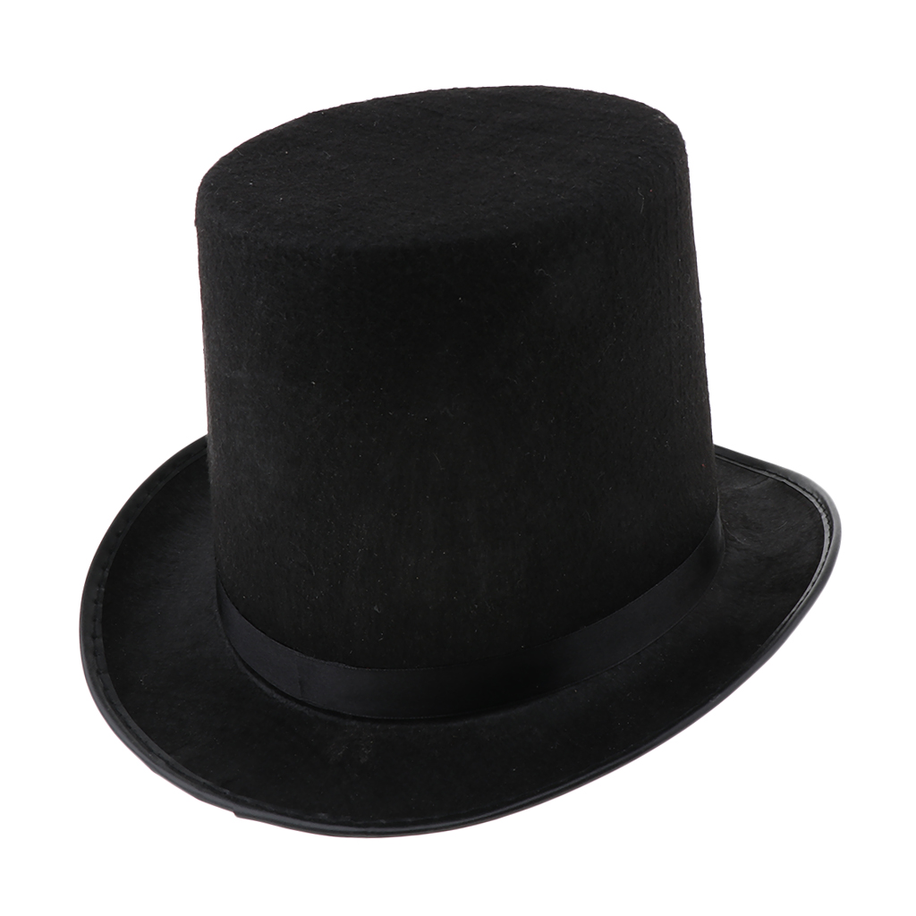 Black Red Gray High Wool High Top Hat For Men And Men Chapeau Fedora Magician Felt Vintage Party Church Hats Adult Size 6.7 Inch(China)