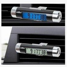 2в1 Авто lcd подсветка Клипса-на цифровой подсветке Автомобильный термометр часы календарь автомобиля вентиляционные зажимы