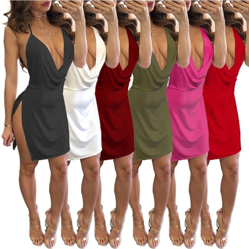 6 Colors Sexy Ladies Fashion Dresses Women Summer Bodycon Backless Robe Party Evening Mini Dress Deep V Neck Vestidos De Festa