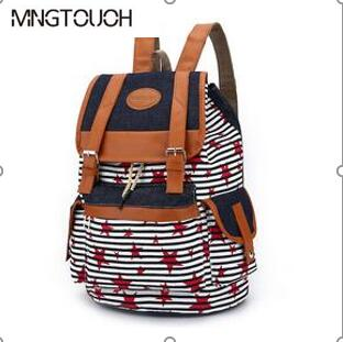 MNGTOUOH 2017 nwe Stripe Womens Printing School Travel bags College Students Backpack women Shoulder Bags