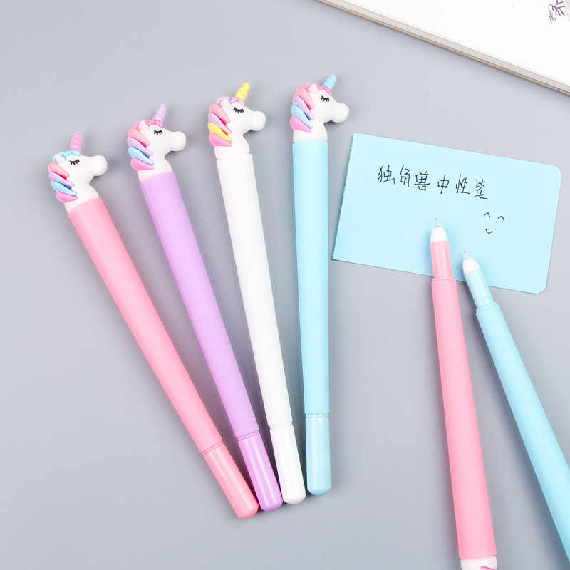 5ps Korean Cartoon Unicorn Gel Pen Student Writing Neutral Pen Office Girl Heart Black Kids School Supplies Stationery Wholesale