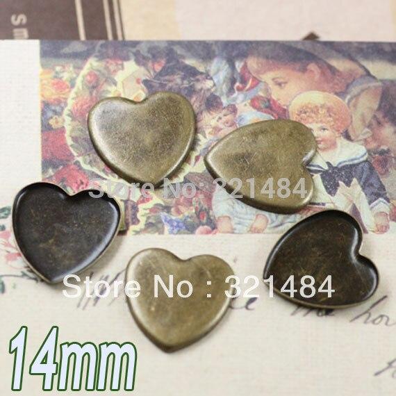 1000 шт античная латунь/бронза 14 мм Сердце без петли зубья край Подвеска для кабошона Базовая заготовка с плоской гранью
