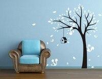 Free Shipping JUNGLE TREE BIRDS FOX 1.9M HIGH Wall Sticker Home Decal Vinyl Wall Decor Wall Art Mural Room Decoration
