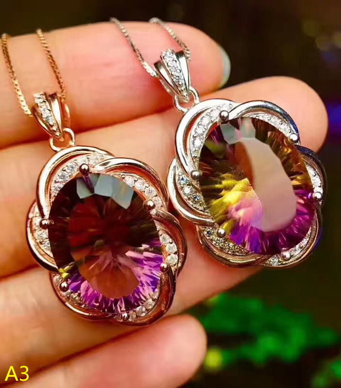 KJJEAXCMY boutique jewelry 925 pure silver inlaid Purple Yellow Crystal Pendant + Necklace Set female jewelry
