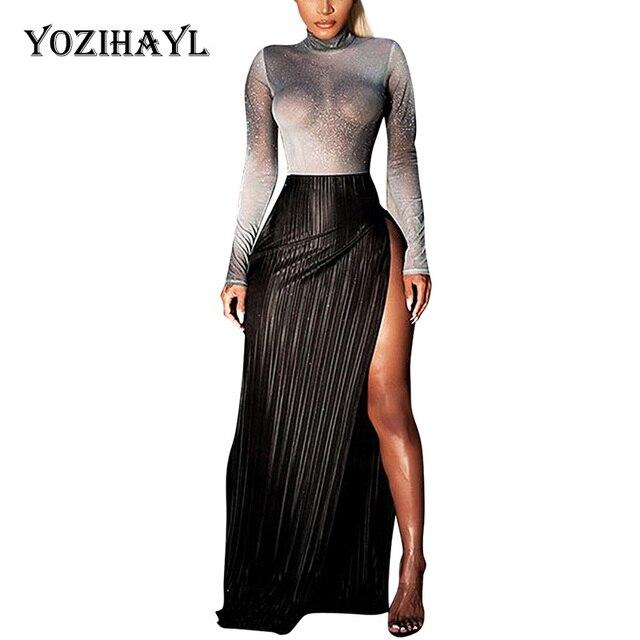 Yozihayl Sexy High Split Long Dress Women Transparent Turtleneck Silver  Club Party Patchwork Dress Slim See Through Maxi Dress f87e2c12b85c