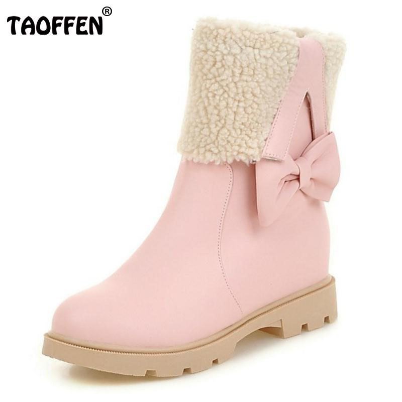 TAOFFEN Size 34-43 Winter Shoes Women Warm Plush Inside Mid Calf Snow Boots For Women Bowknot Height Increasing Winter Botas double buckle cross straps mid calf boots