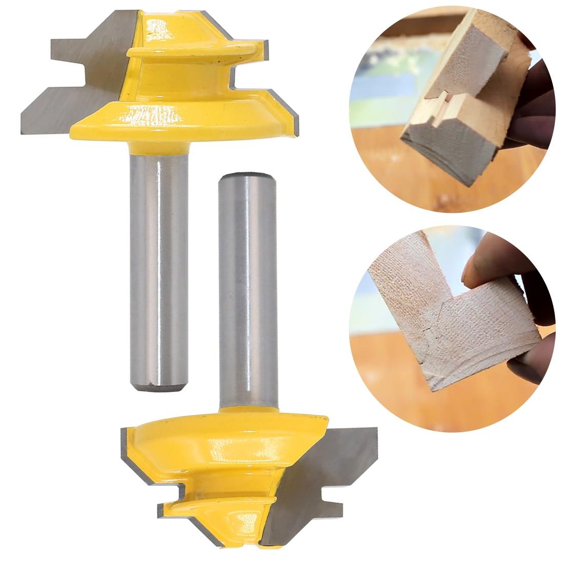 1pcs Woodworker Lock Miter Router Bit 45 Degree Width Woodworking Drill Bit 8mm Shank Tenon Cutter Woodwork Milling Cutters