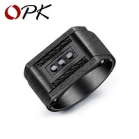 OPK Classic Wire Cable Biker Rings For Men 316L Stainless Steel Brushed Design Male Boy Signet