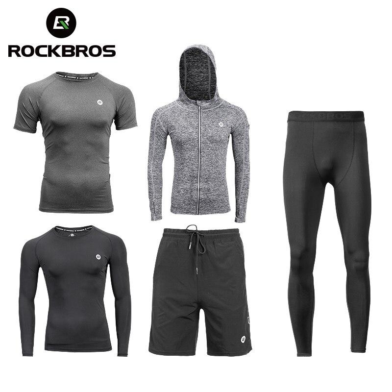 ROCKBROS Running Sets Gym Sportswear Suit Fitness T-shirt Shorts Sports Training Clothes Breathable Jogging Pants Men Sweatpants