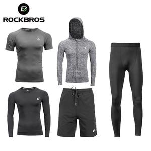 Image 1 - ROCKBROS koşu setleri spor spor takım elbise spor T shirt şort spor eğitimi giyim nefes koşu pantolonları erkek eşofman altı