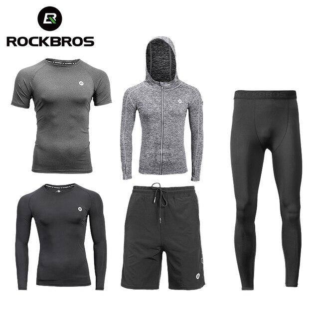 ROCKBROS koşu setleri spor spor takım elbise spor T shirt şort spor eğitimi giyim nefes koşu pantolonları erkek eşofman altı