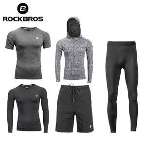 Image 1 - Спортивный костюм ROCKBROS для бега, спортивная одежда, фитнес, футболка, шорты, спортивная одежда, дышащие спортивные штаны для бега, мужские спортивные штаны