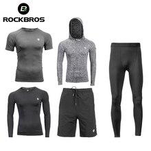 Rockbros conjunto de roupa de corrida, roupa esportiva para academia, camiseta fitness, calça de treino masculina respirável