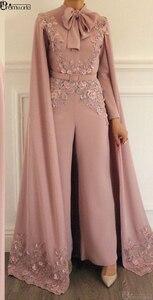 Image 2 - אלגנטי מוסלמי שמלת ערב 2020 סומק ורוד תחרה אפליקציות חרוזים ערב מכנסיים דובאי ערבית ארוך שרוולי פורמליות ערב שמלה