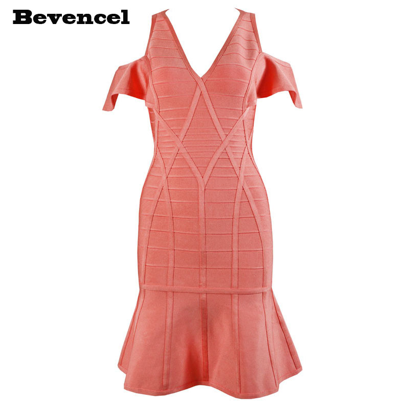 2017 new arrival summer dress sleeveless orange v neck hollow out bodycon women party bandage dress