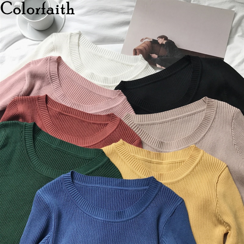 Colorfaith New 2019 Autumn Winter Women's Sweaters V-Neck Minimalist Slim Bottoming Tops Korean Style Solid Multi Colors SW5516