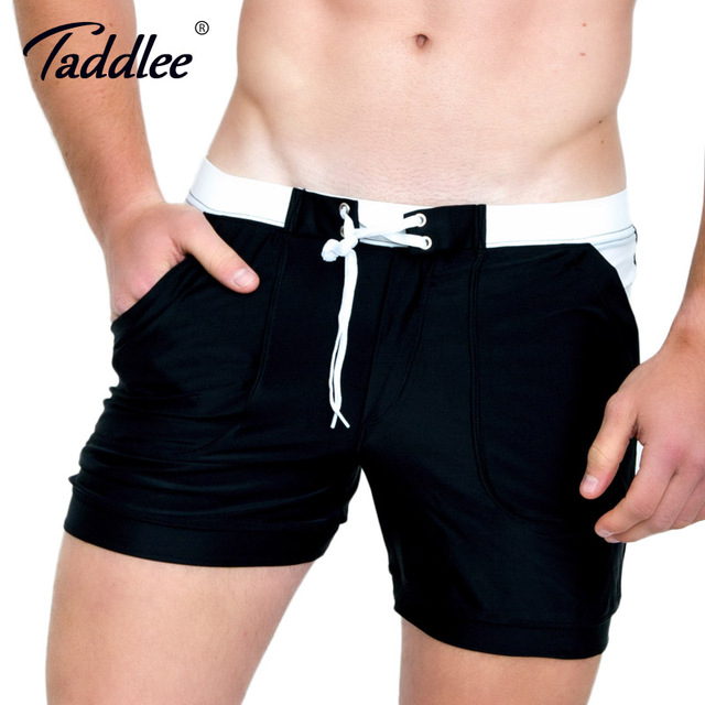 7c4148ed13 Taddlee Brand Sexy Men's Swimwear Beach Board Boxer Trunks 2017 New Men  Solid Basic Plus Big Size Swimsuits Surfing Boardshorts