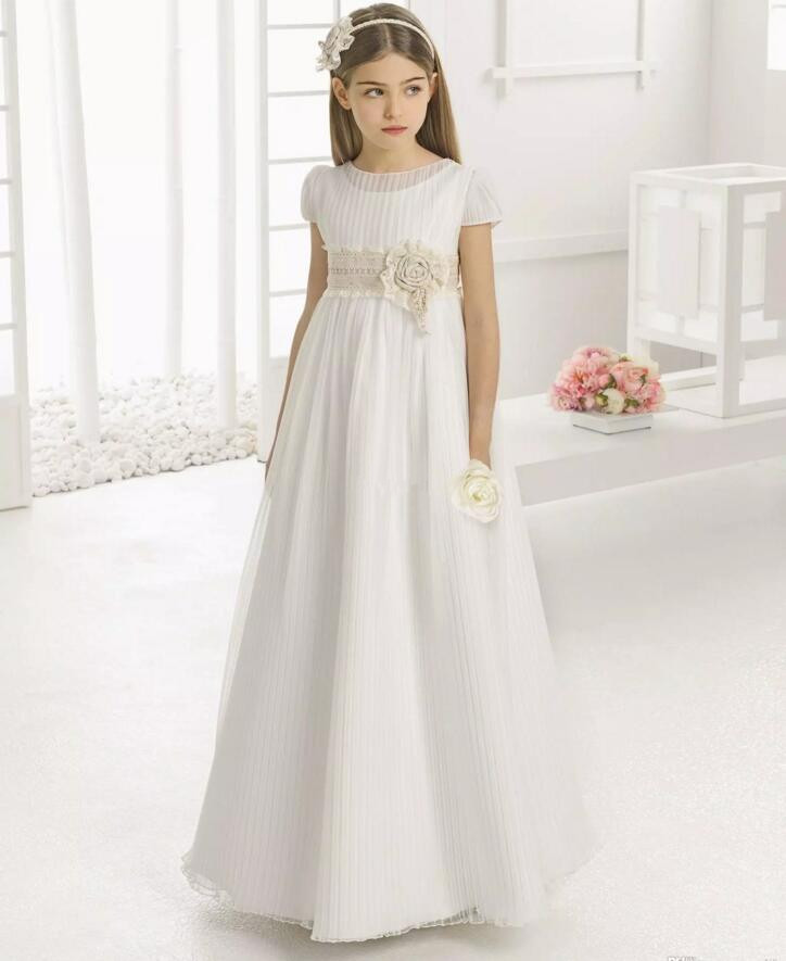 Vintage Flower Girl Dresses for Wedding Empire Waist Short Sleeve Tulle Crew Champagne Lace Sash Children First Communion Dress plus size printed empire waist peplum top