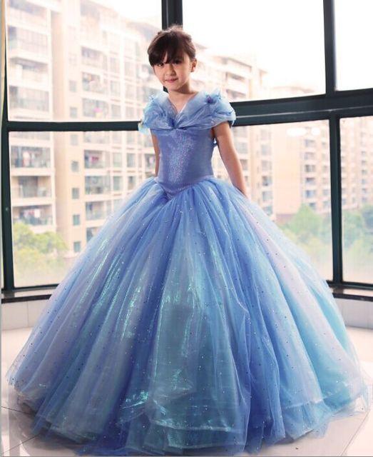 Newest Deluxe 2015 Kids Cinderella Cosplay Costumes Blue Cinderella Dress & Newest Deluxe 2015 Kids Cinderella Cosplay Costumes Blue Cinderella ...