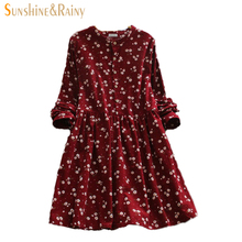 2017 Japanese korean style long sleeved autumn fall all match fashion small flowers print floral fashion corduroy woman dress