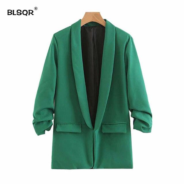 BLSQR Mode Femmes Élégant Blazer Vert Sertissage Trois Quarts Manches  Manteaux Cranté Poche Bureau Casual Tops a2544219968