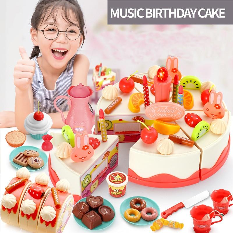 DIY 61 pcs Children simulation electric birthday cake toys with music glowing singing baby cutting cake kids kitchen toys sets