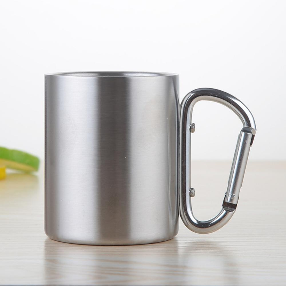 220/300/350/450ml Stainless Steel Cup Portable Camping Traveling Outdoor Cup Double Wall Mug With Carabiner Hook Handle-in Outdoor Tablewares from Sports & Entertainment
