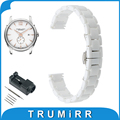 14mm Full Ceramic Watch Band + Link Remover for Hamilton Women's Butterfly Buckle Strap Wrist Belt Bracelet Black White