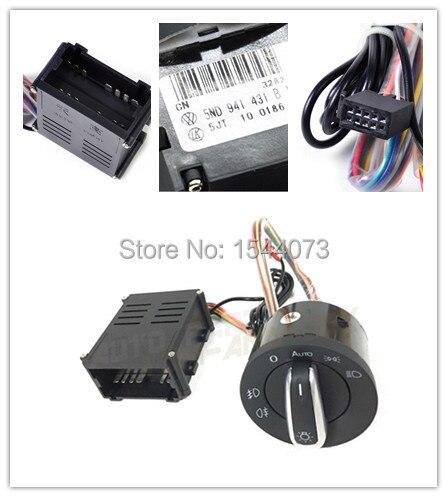 цена на Chrome Headlight Auto Sensor light + switch for VW Passat B5 Bora Polo Golf 4 new Jetta Beetle 5ND941431B