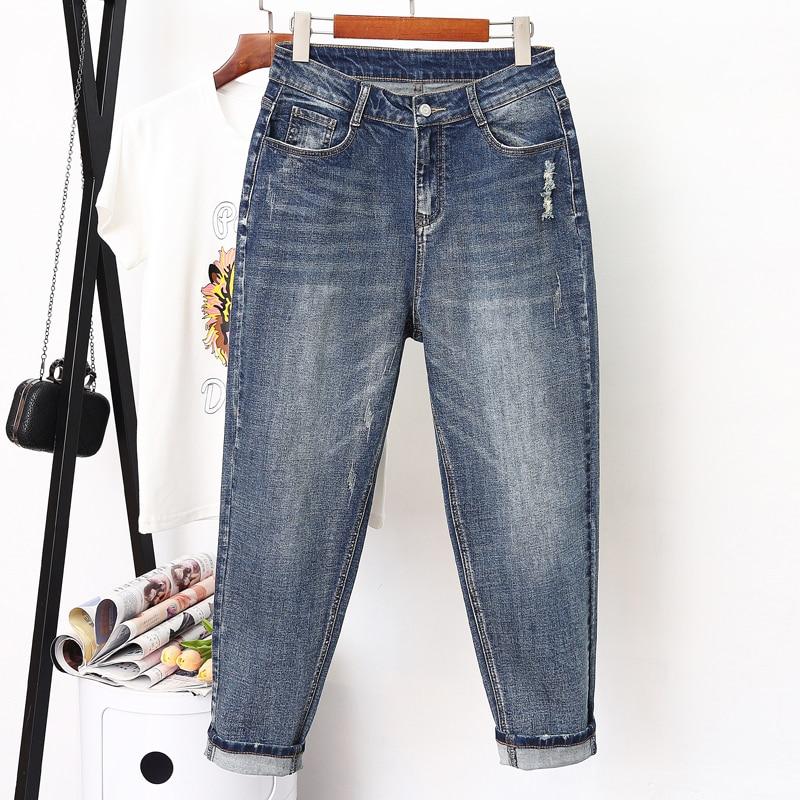 Spring Autumn Fashion High Waist   Jeans   Woman Plus Size XL-5XL Casual Elastic Waist Ladies Vintage Harem Pants Women   Jeans