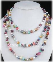 Joyería Topearl 60 pulgadas largo collar de perlas de Color mezclado de agua dulce collar de perlas CHJ28