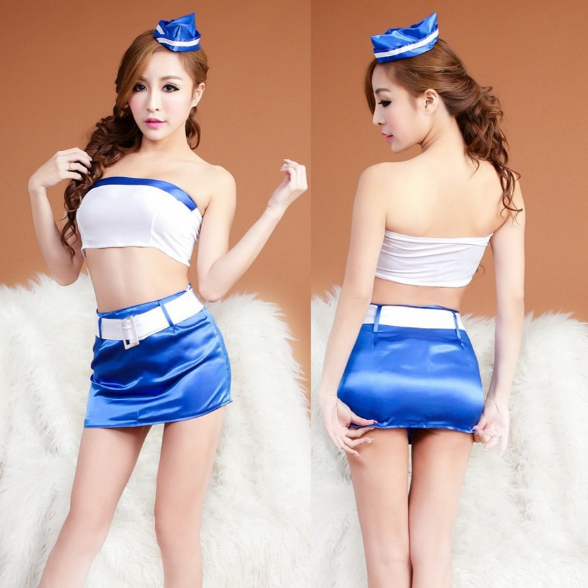 New Split Stewardess Sexy Dress Strapless Sexy Costumes For Women Cosplay Sexy Lingerie Erotic Baby Dolls Porn Underwear