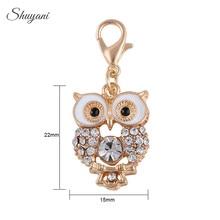 22 15mm Fashion Alloy Metal Animal Enamel Gold Color Rhinestone Owl Charms  Pendant for DIY ea412c51fca4