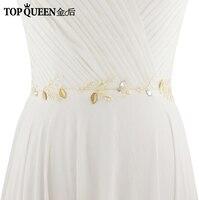 TOPQUEEN SH71-G Cinture Da Sposa con Perle Foglie D'oro e Strass Wedding Sash Cintura per Gli Accessori Da Sposa Sposa