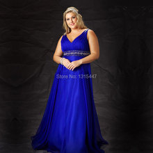 Vestido Longo Plus Size Royal Blue Long Evening Dress Crystal Beaded Long Prom Dresses 2016 New Arrival Formal Wedding Party