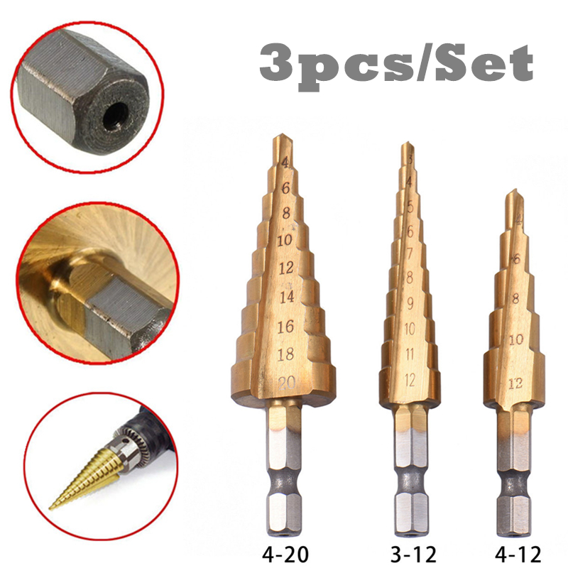 3PCS HSS Functional Titanium Step Drill Bits 3-12mm 4-12mm 4-20mm Power Cone Cutting Tools High Speed Steel Wood Metal Drilling sweet style round neck long sleeve printed pocket design cardigan for women