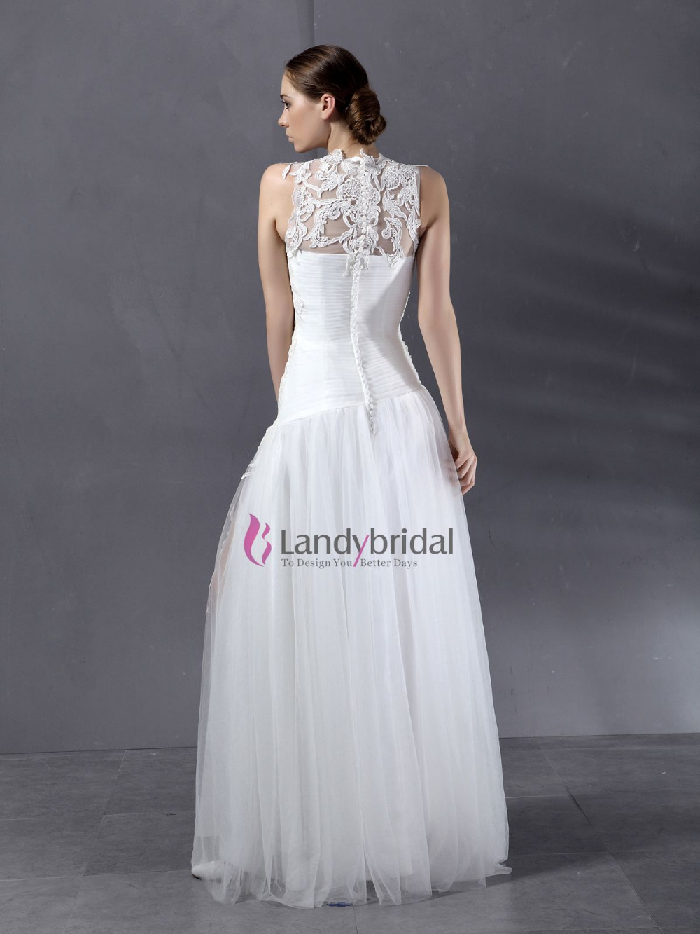 Cheap High Neckline Lace Covered Chest Tulle Free Shipping Wedding Dress In Dresses From Weddings Events On Aliexpress