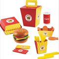 26pcs Baby Toy Kids Pretend Play Lunch Food Wooden Toys French Fries Hamburger Set Kitchen Toys Gifts