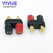 2Pcs/Lot Banana plugs Couple Terminals Gold Plate Red Black Connector Terminal Plugs Binding Post in Wire Connectors
